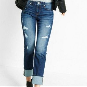 Express Distressed Mid Rise Cropped Jeans 👖